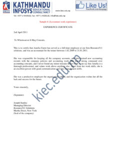 15+ Experience Letter Templates In Pdf | Free & Premium within Certificate Of Experience Template
