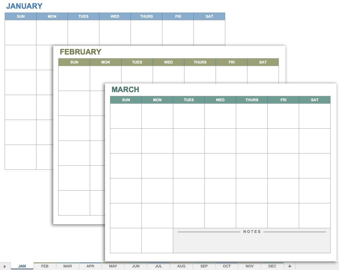 15 Free Monthly Calendar Templates   Smartsheet In Blank One Month Calendar Template