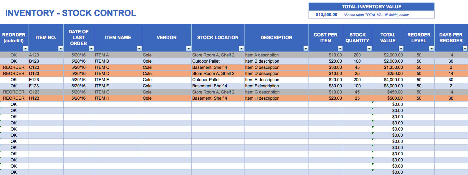 15+ Samples Of Inventory Templates In Word, Excel And Pdf With Stock Report Template Excel