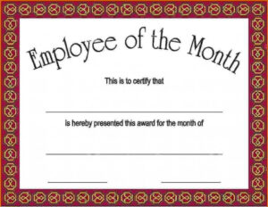 17+ Employee Of The Month Template | This Is Charlietrotter with Employee Of The Month Certificate Templates