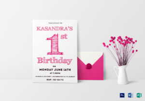 1St Birthday Party Invitation Card Template intended for Birthday Card Publisher Template