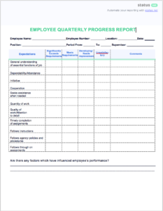 2 Easy Quarterly Progress Report Templates | Free Download for Business Quarterly Report Template