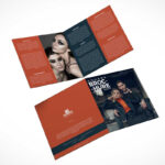 2 Panel Square Bi Fold Brochure Front & Back Psd Mockup For 2 Fold Brochure Template Psd