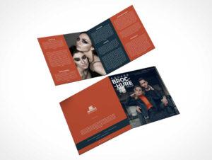 2 Panel Square Bi-Fold Brochure Front & Back Psd Mockup for 2 Fold Brochure Template Psd