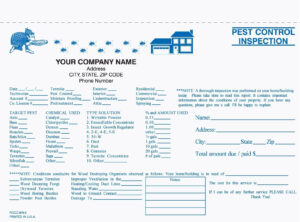 "2 Part Pest Control Inspection Form, Carbonless, 8 1/2"" X 5 Within Pest Control Inspection Report Template"