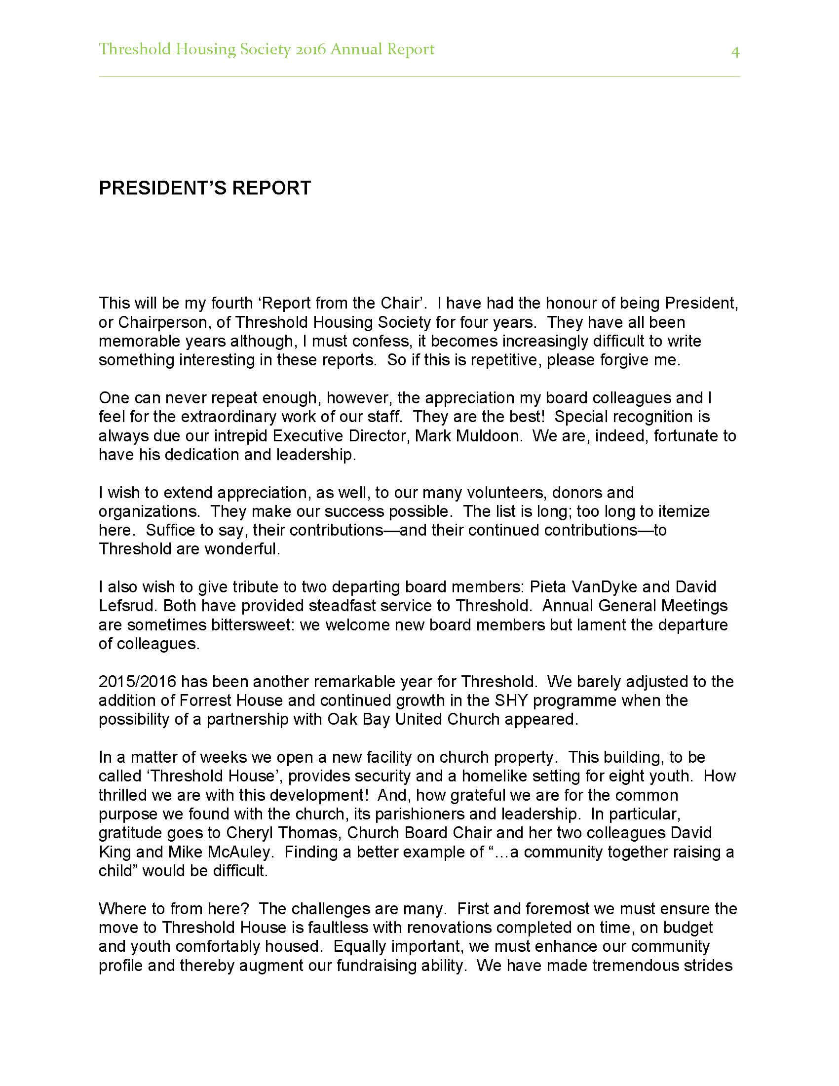 2017/2018 Annual Report – Threshold Housing For Chairman's Annual Report Template
