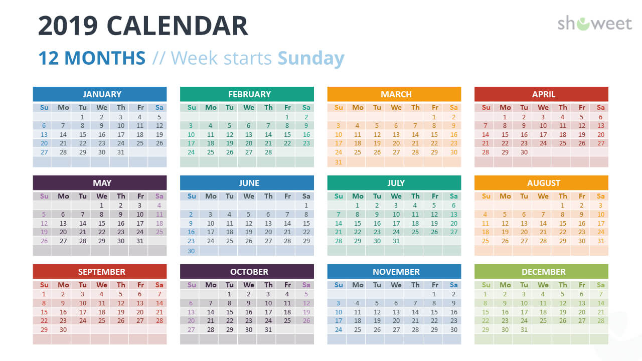 2019 Calendar Powerpoint Templates Within Microsoft Powerpoint Calendar Template
