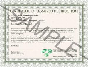 26 Images Of Attestation Of Data Destruction Template intended for Hard Drive Destruction Certificate Template