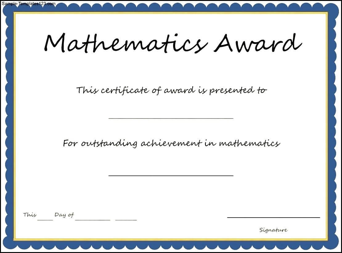 26 Images Of Calculus Certificate Template Free   Unemeuf Intended For Math Certificate Template