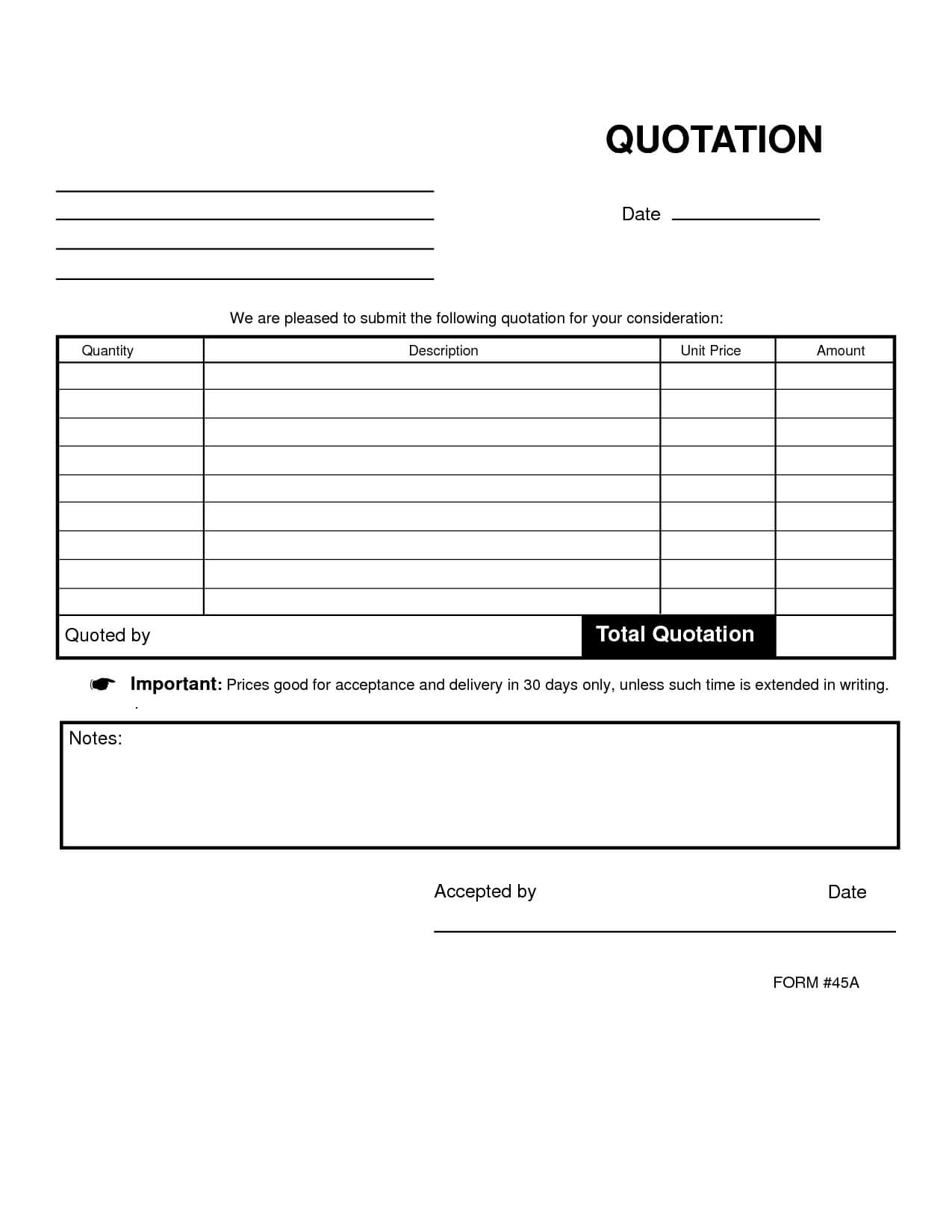 27 Images Of Blank Quote Template   Nategray Pertaining To Blank Estimate Form Template