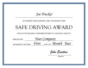 27 Images Of Driver Of The Month Certificate Template within Safe Driving Certificate Template