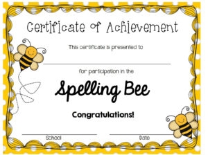28 Images Of Spelling Certificate Template | Nategray with Spelling Bee Award Certificate Template
