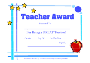 28 Images Of Teacher Appreciation Free Certificate Template with regard to Best Teacher Certificate Templates Free
