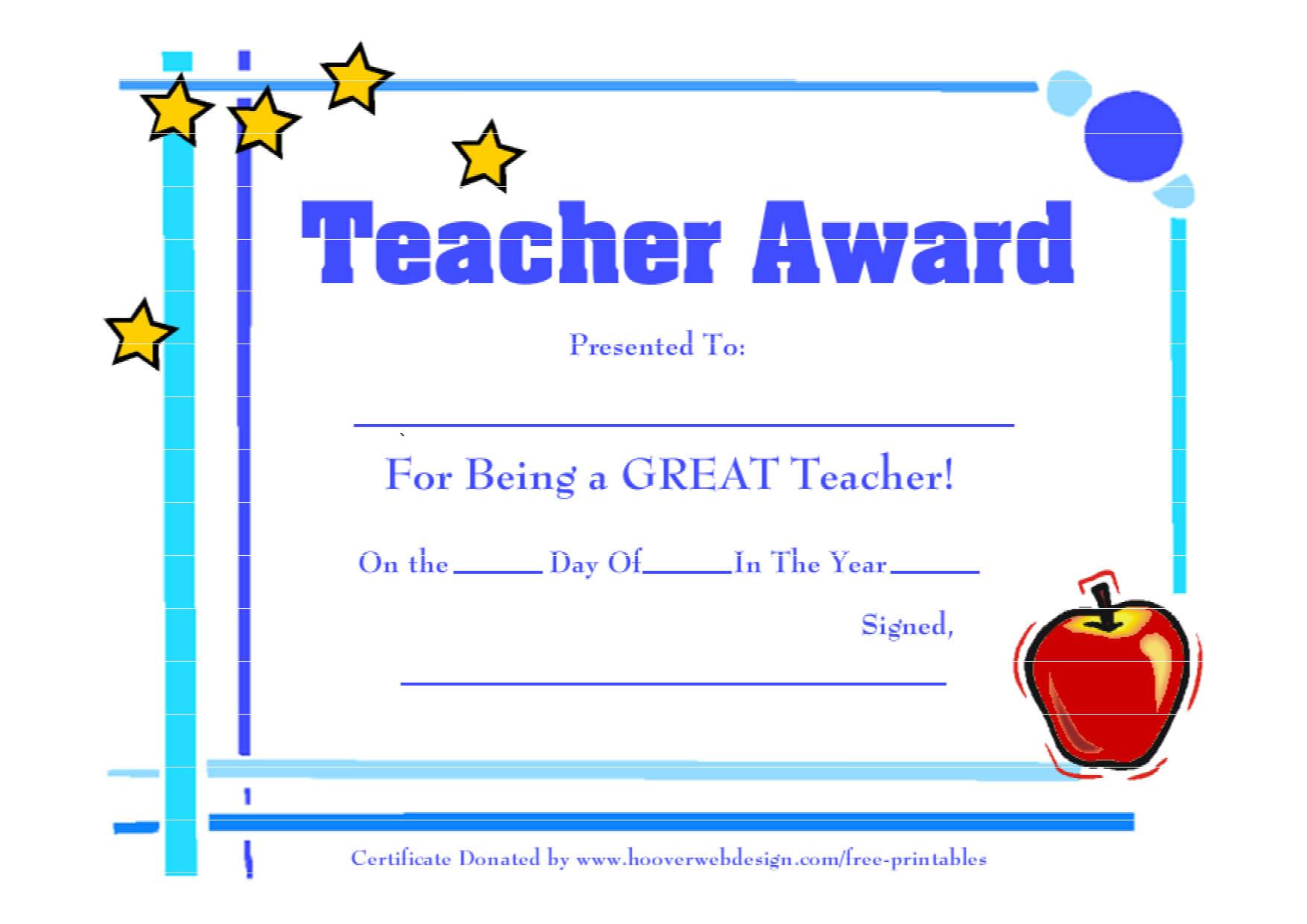 28 Images Of Teacher Appreciation Free Certificate Template With Regard To Best Teacher Certificate Templates Free