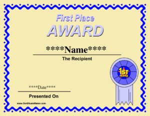 29 Images Of First Place Award Template | Linaca with First Place Award Certificate Template