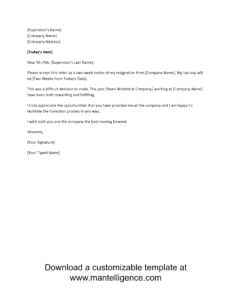 3 Highly Professional Two Weeks Notice Letter Templates Inside 2 Weeks Notice Template Word