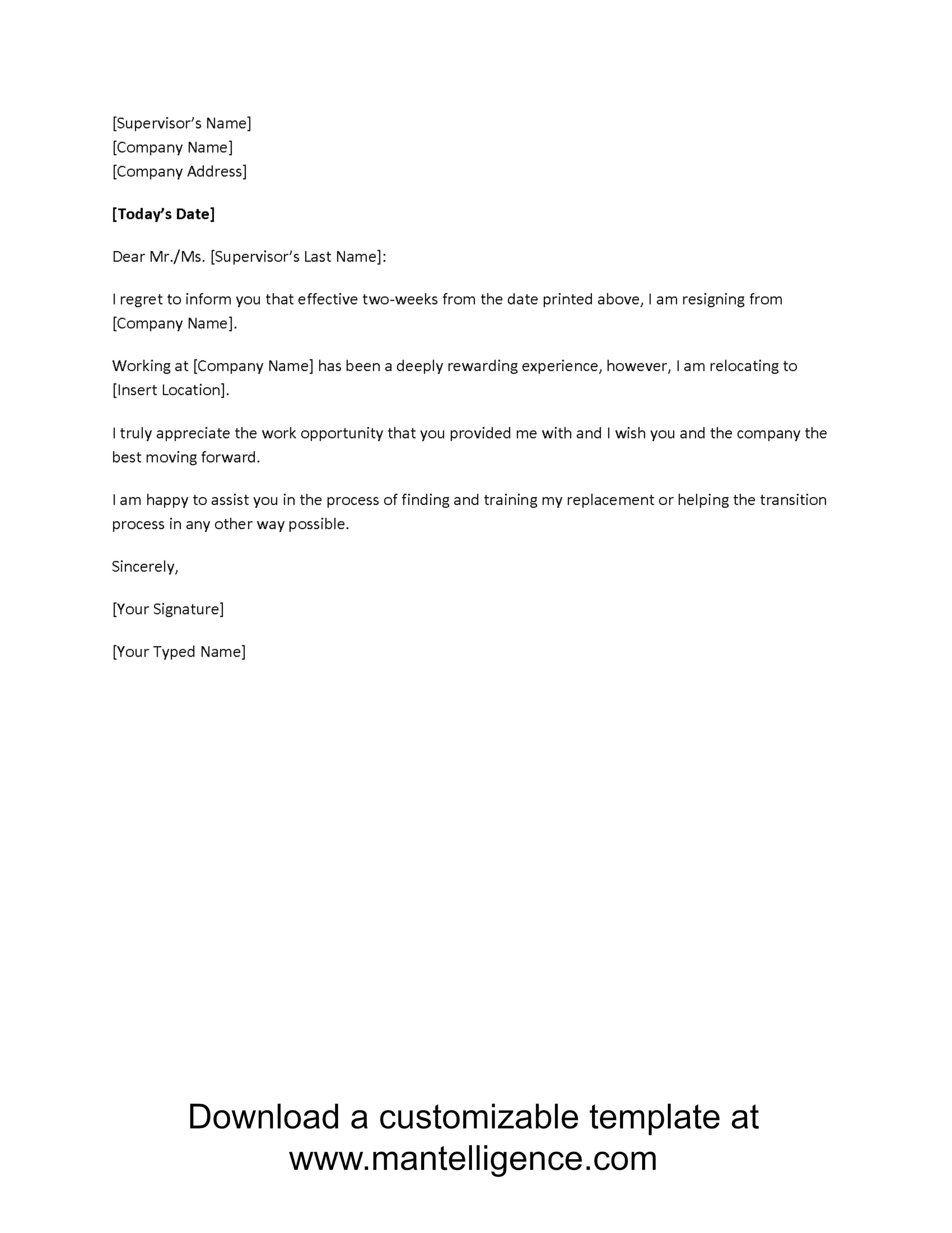 3 Highly Professional Two Weeks Notice Letter Templates Regarding Two Week Notice Template Word