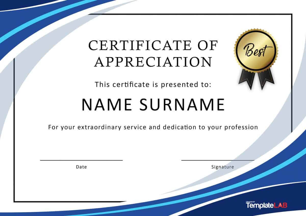 30 Free Certificate Of Appreciation Templates And Letters For Certificate Of Appreciation Template Free Printable
