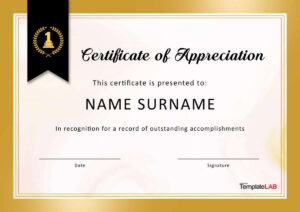 30 Free Certificate Of Appreciation Templates And Letters in Certificate Of Excellence Template Free Download