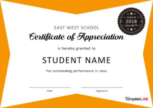 30 Free Certificate Of Appreciation Templates And Letters inside Student Of The Year Award Certificate Templates