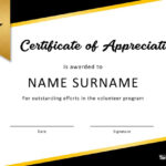 30 Free Certificate Of Appreciation Templates And Letters Inside Volunteer Certificate Template