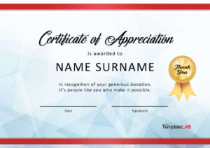 30 Free Certificate Of Appreciation Templates And Letters Intended For Thanks Certificate Template