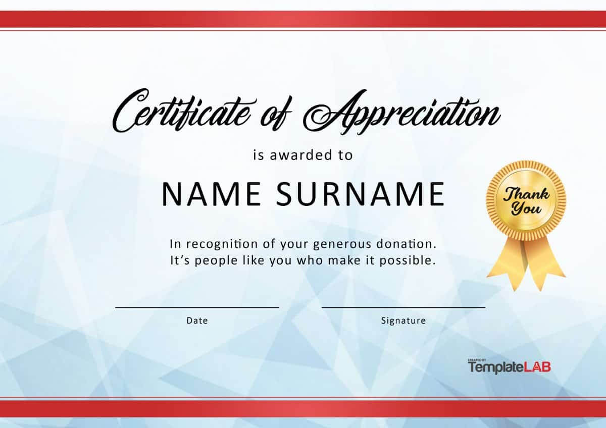 30 Free Certificate Of Appreciation Templates And Letters Regarding Printable Certificate Of Recognition Templates Free