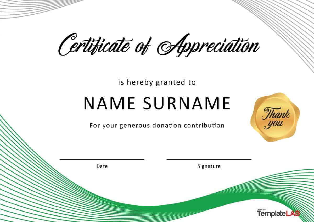 30 Free Certificate Of Appreciation Templates And Letters Throughout Gratitude Certificate Template