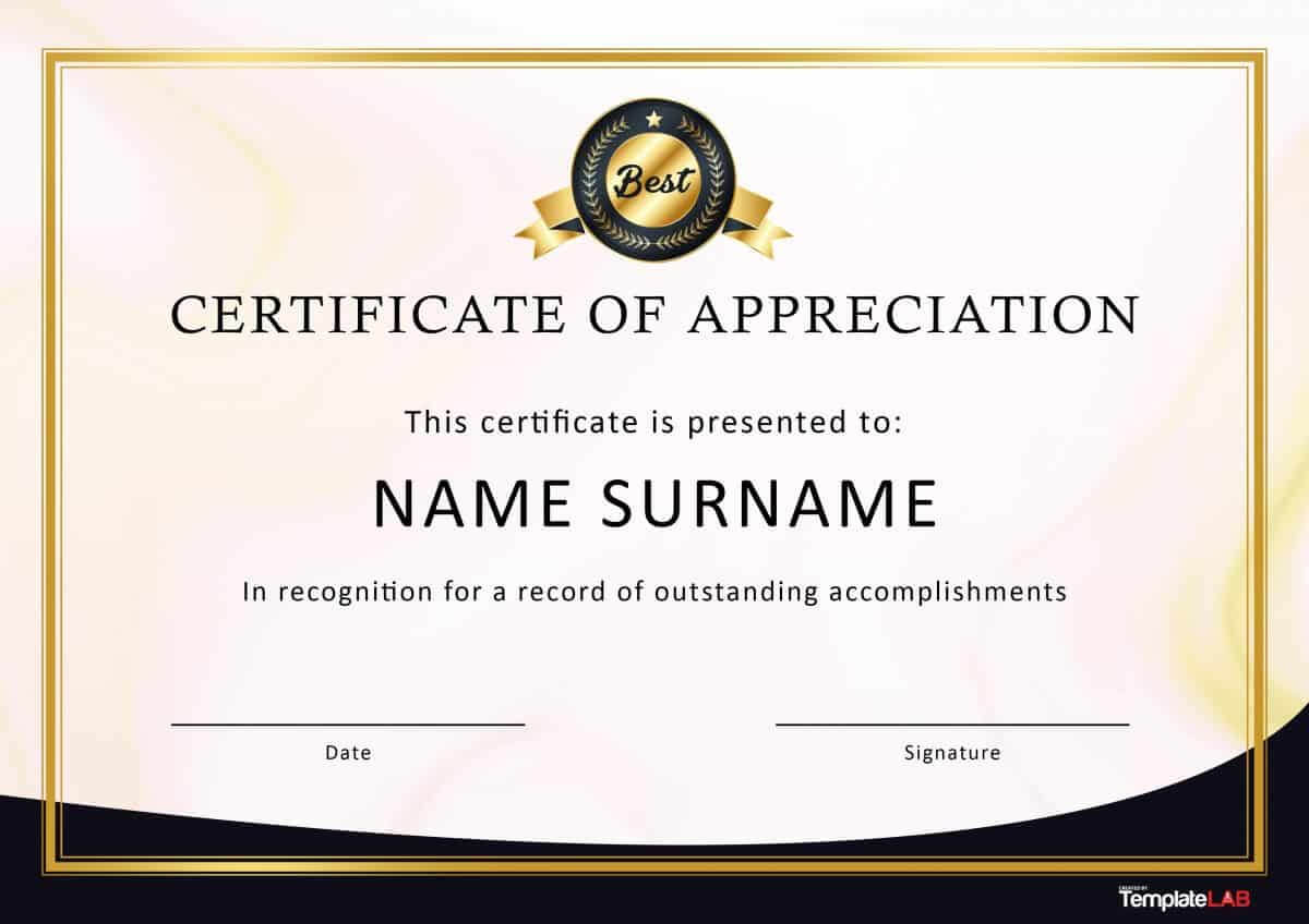 30 Free Certificate Of Appreciation Templates And Letters With Template For Certificate Of Appreciation In Microsoft Word