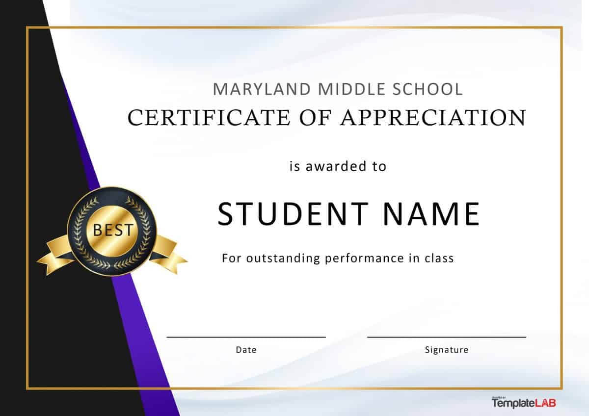 30 Free Certificate Of Appreciation Templates And Letters With Thanks Certificate Template