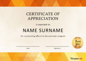 30 Free Certificate Of Appreciation Templates And Letters with Volunteer Of The Year Certificate Template