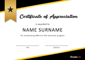 30 Free Certificate Of Appreciation Templates And Letters Within Volunteer Award Certificate Template