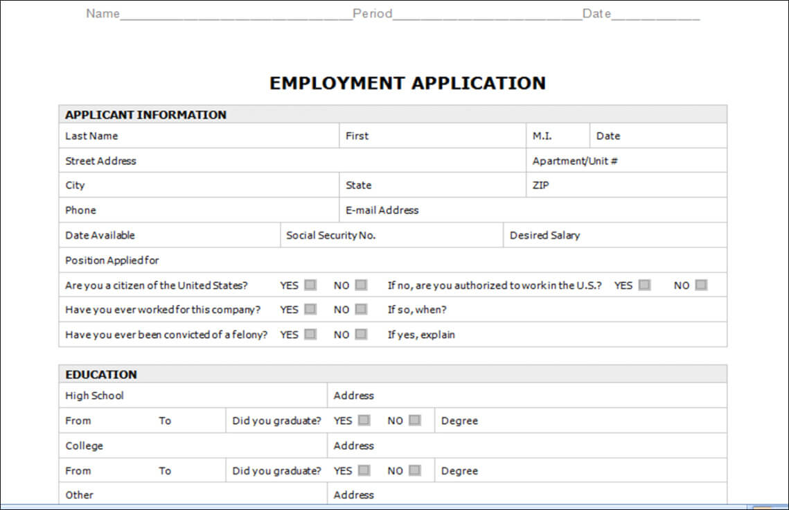 30 Gallery Ideas Of Job Application Templates For Microsoft In Employment Application Template Microsoft Word