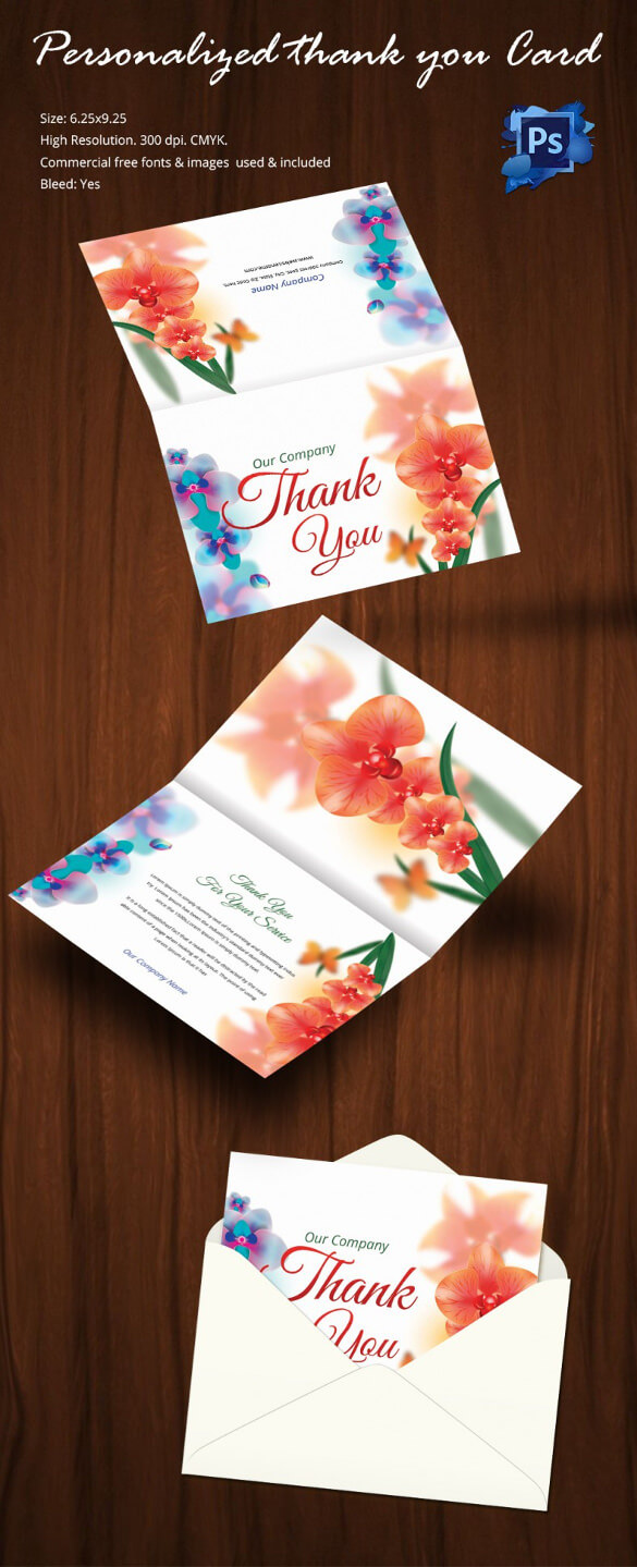 30+ Personalized Thank You Cards - Free Printable Psd, Eps Regarding Card Folding Templates Free