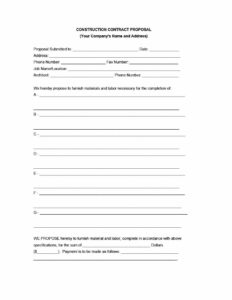 31 Construction Proposal Template & Construction Bid Forms in Free Construction Proposal Template Word