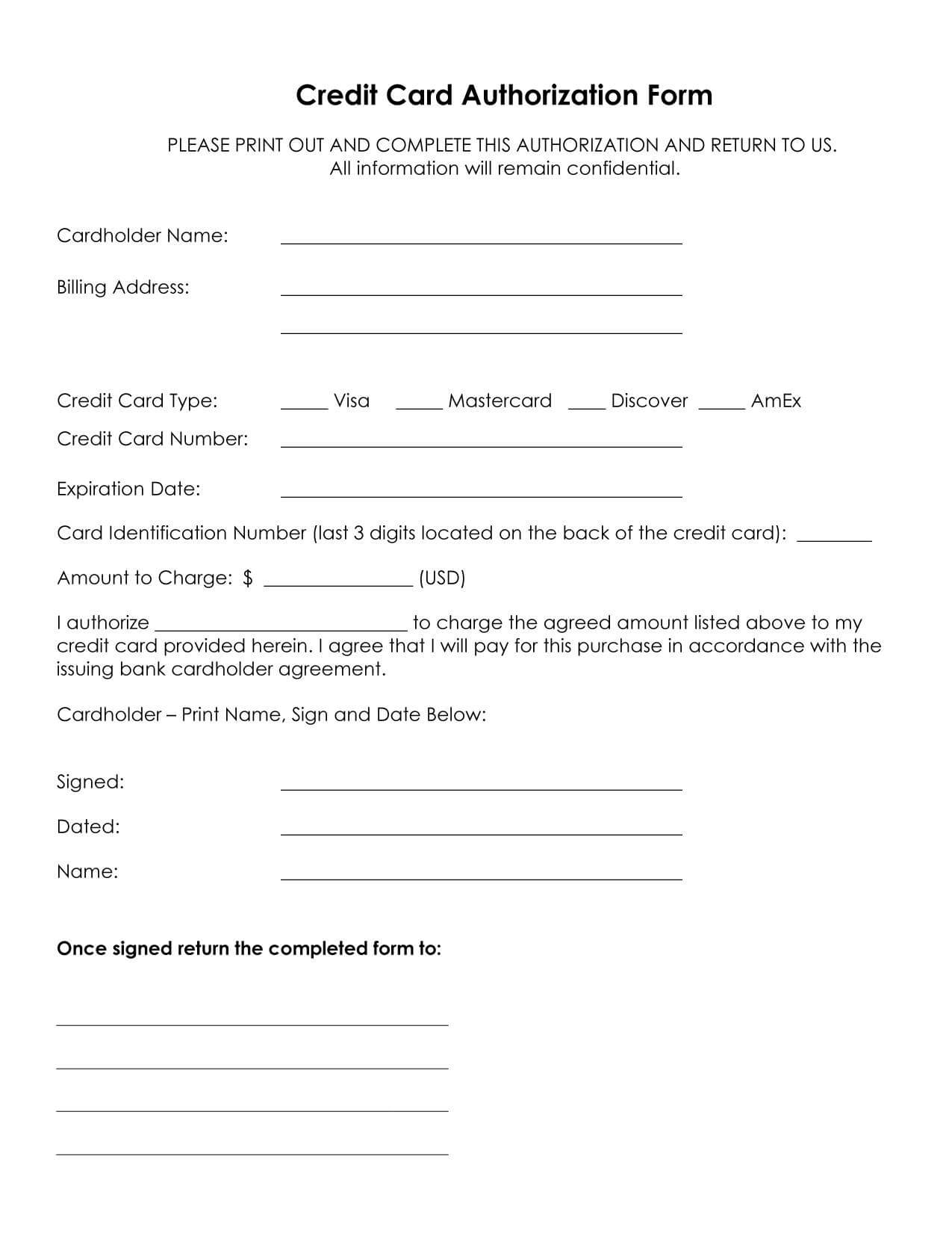 33+ Credit Card Authorization Form Template Download (Pdf, Word) Intended For Credit Card Payment Slip Template
