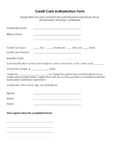 33+ Credit Card Authorization Form Template Download (Pdf, Word) within Credit Card Billing Authorization Form Template