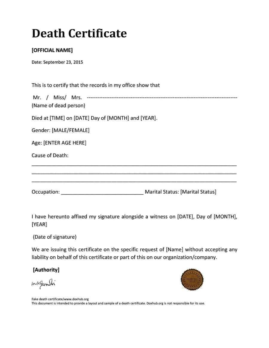 37 Blank Death Certificate Templates [100% Free] ᐅ Template Lab Within Fake Death Certificate Template
