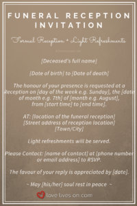 39 Best Funeral Reception Invitations | Funeral Reception in Funeral Invitation Card Template