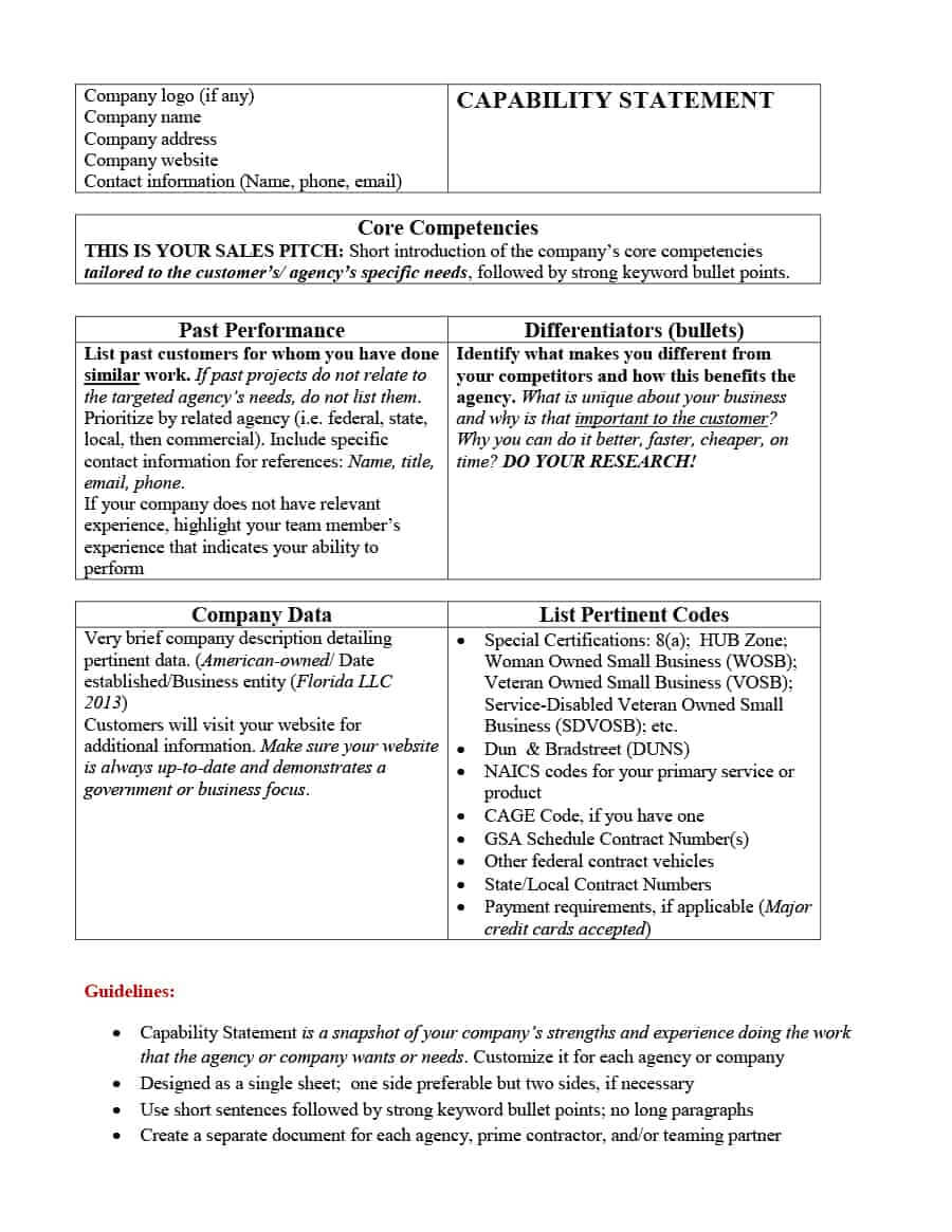 39 Effective Capability Statement Templates (+ Examples) ᐅ Intended For Capability Statement Template Word