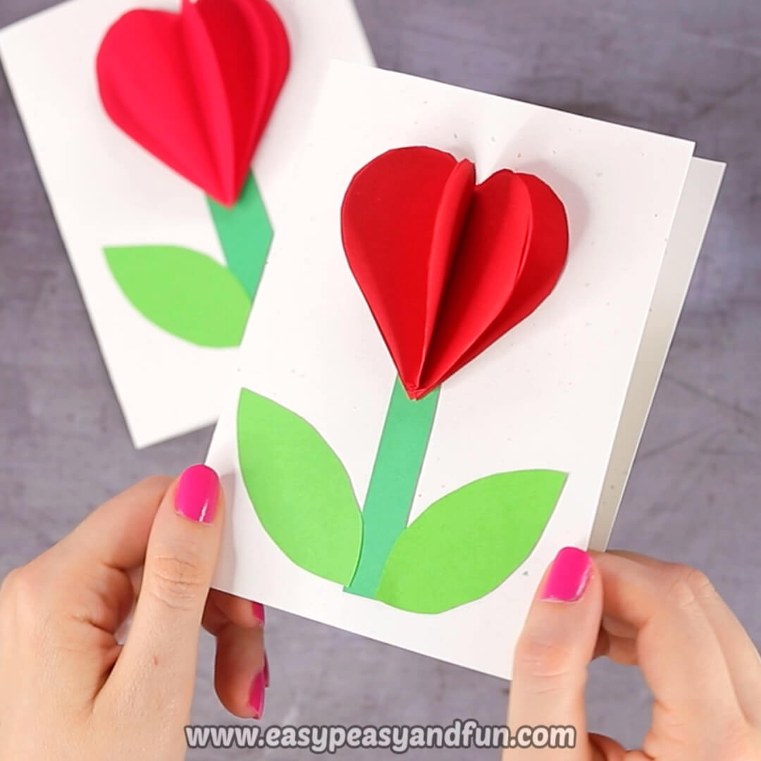 3D Heart Flower Card (With Flower Template) - Valentines And Within 3D Heart Pop Up Card Template Pdf