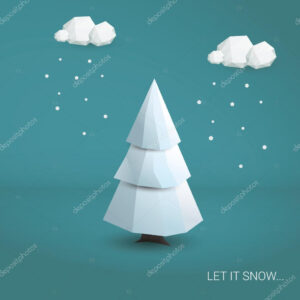 3D Low Poly Christmas Tree Card Template. Traditional regarding 3D Christmas Tree Card Template