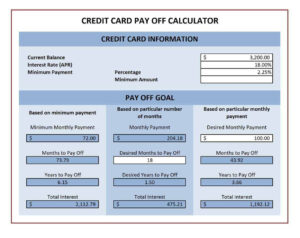 4+ Credit Card Payoff Spreadsheets – Word Excel Templates within Credit Card Payment Spreadsheet Template