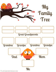 4 Free Family Tree Templates For Genealogy, Craft Or School in Fill In The Blank Family Tree Template