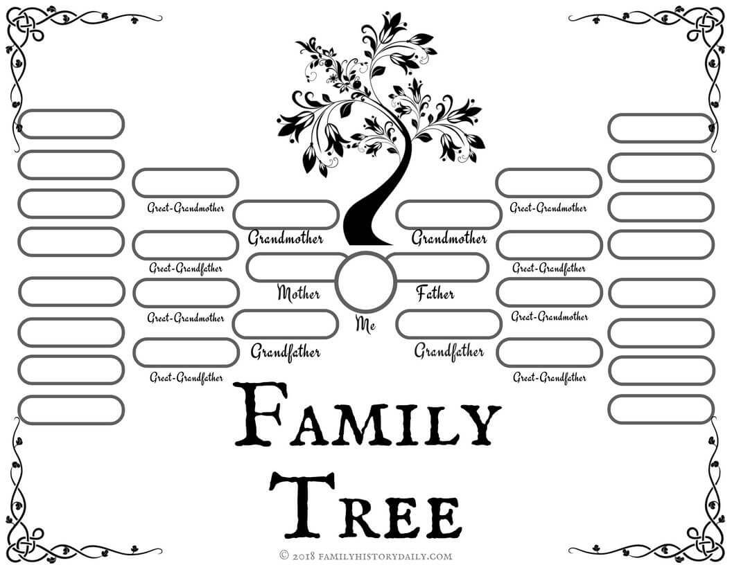 4 Free Family Tree Templates For Genealogy, Craft Or School Within Fill In The Blank Family Tree Template