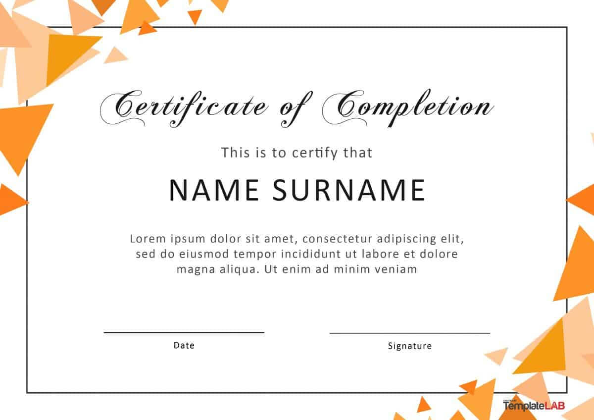 40 Fantastic Certificate Of Completion Templates [Word For Microsoft Word Certificate Templates