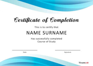 40 Fantastic Certificate Of Completion Templates [Word intended for 5Th Grade Graduation Certificate Template