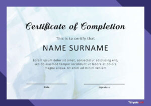 40 Fantastic Certificate Of Completion Templates [Word throughout Free Completion Certificate Templates For Word