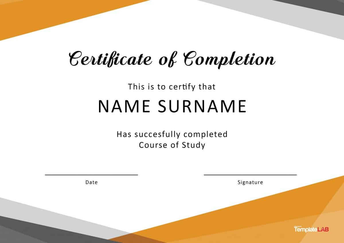 40 Fantastic Certificate Of Completion Templates [Word With Free Training Completion Certificate Templates