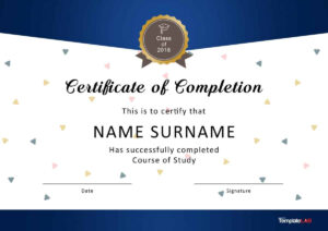 40 Fantastic Certificate Of Completion Templates [Word within 5Th Grade Graduation Certificate Template